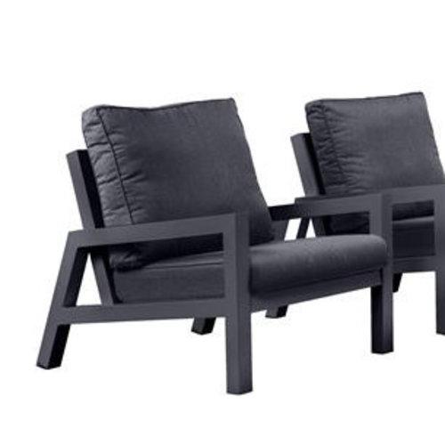 SUNS tuinmeubelen Lago loungestoel met bijzettafel | Mat Royal Grey