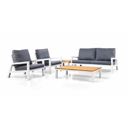 SUNS tuinmeubelen Lago loungestoelen met bijzettafel | Mat wit