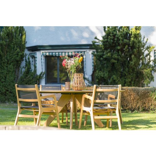 Wolfwood Tuinset | Durban tuintafel 200 cm met Norden Dining tuinstoel