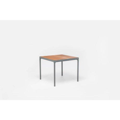 HOUE Four tuintafel 90 x 90 cm | Donkergrijs aluminium / bamboe