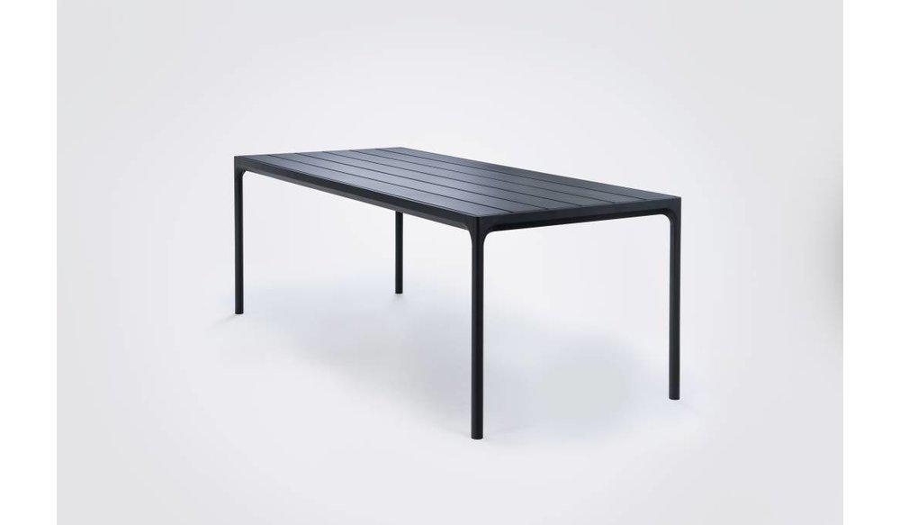 Four tuintafel 210 x 90 cm | Zwart aluminium / zwart bamboe