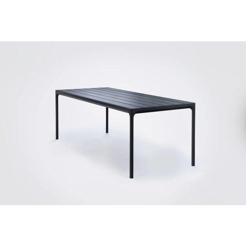HOUE Four tuintafel 210 x 90 cm | Zwart aluminium / zwart bamboe