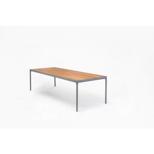 HOUE Tuinmeubelen Four tuintafel 160 x 90 cm | Donkergrijs aluminium / bamboe