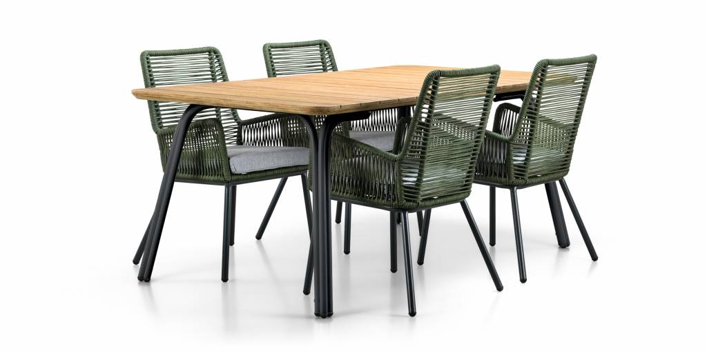 SUNS tuinmeubelen Simi | Dining tuintafel | 230x100 cm | houten tafelblad | Mat Grijs