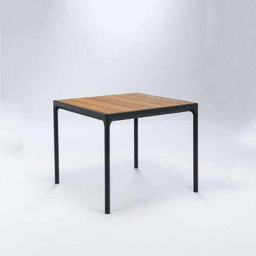 HOUE Four tuintafel 90 x 90 cm | Zwart aluminium / bamboe