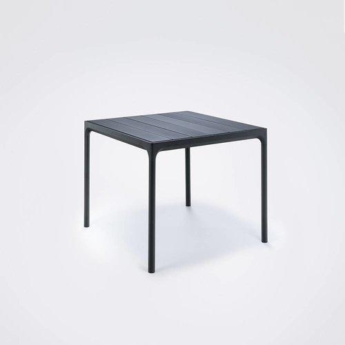 HOUE Four tuintafel 90 x 90 cm | Zwart aluminium / zwart bamboe