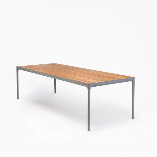 HOUE Tuinmeubelen Four tuintafel 210 x 90 cm | Donkergrijs aluminium / bamboe