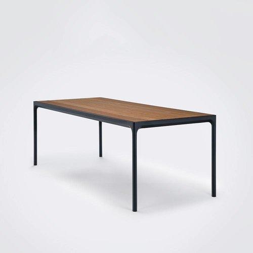 HOUE Tuinmeubelen Four tuintafel 210 x 90 cm | Zwart aluminium / bamboe