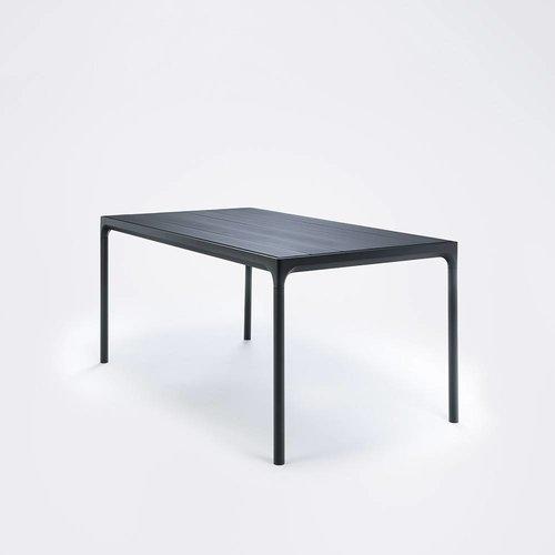 HOUE Four tuintafel 160 x 90 cm | Zwart aluminium / zwart bamboe