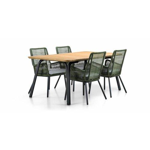 SUNS tuinmeubelen Simi | Dining tuintafel | 180x100 cm | houten tafelblad | Mat royal grijs