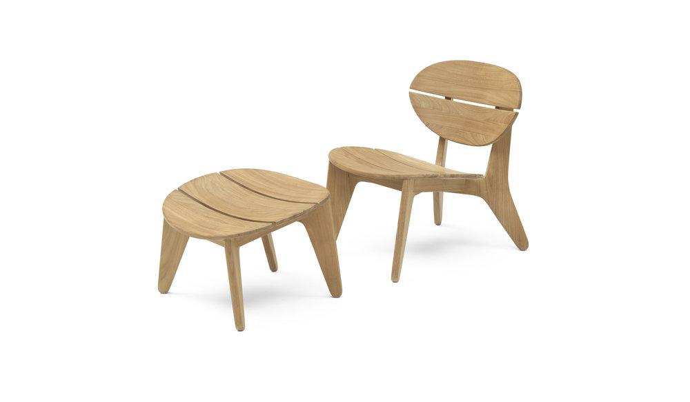 Durban loungestoel met hocker
