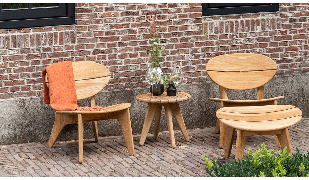 Durban loungestoel met hocker