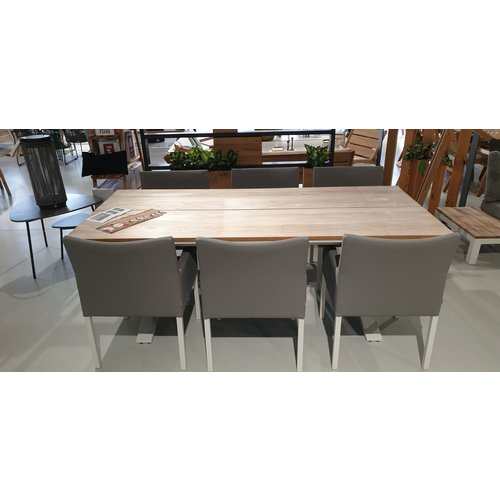 SUNS tuinmeubelen Tuinset : Stockholm tafel 220 wit met 6 Antas dining chairs