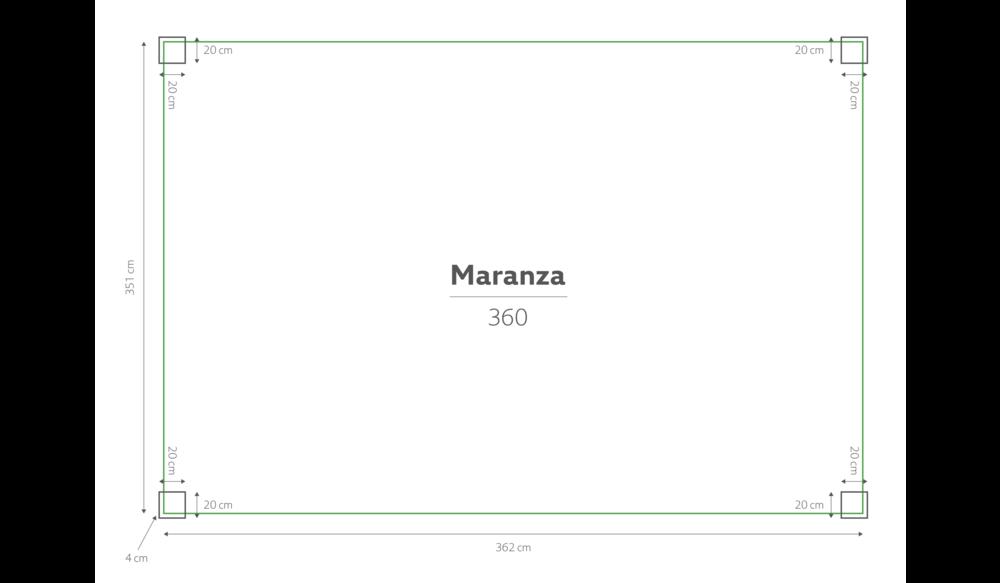 Maranza | Terrasoverkapping | Mat grijs | 360x350x230