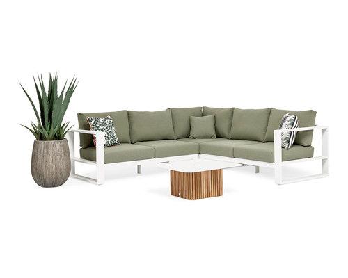Savona Loungeset | Mat Wit | Forest Green