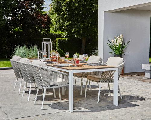 Nappa tuinstoel | Fishbone | Mat Wit- soft grey