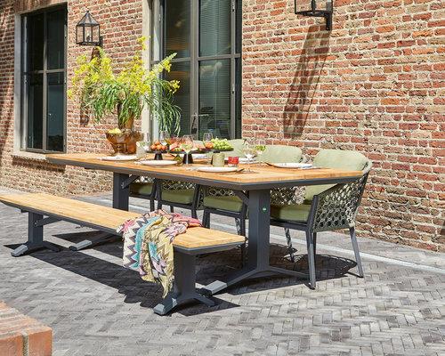 Tuinset | Stockholm tuintafel met tuinbank en Nappa tuinstoelen