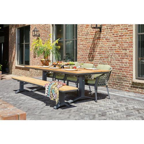 SUNS tuinmeubelen Tuinset | Stockholm tuintafel met tuinbank en Nappa tuinstoelen