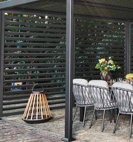 SUNS tuinmeubelen Shutter voor de Maranza Overkapping | Mat Royal Grey | 335 cm
