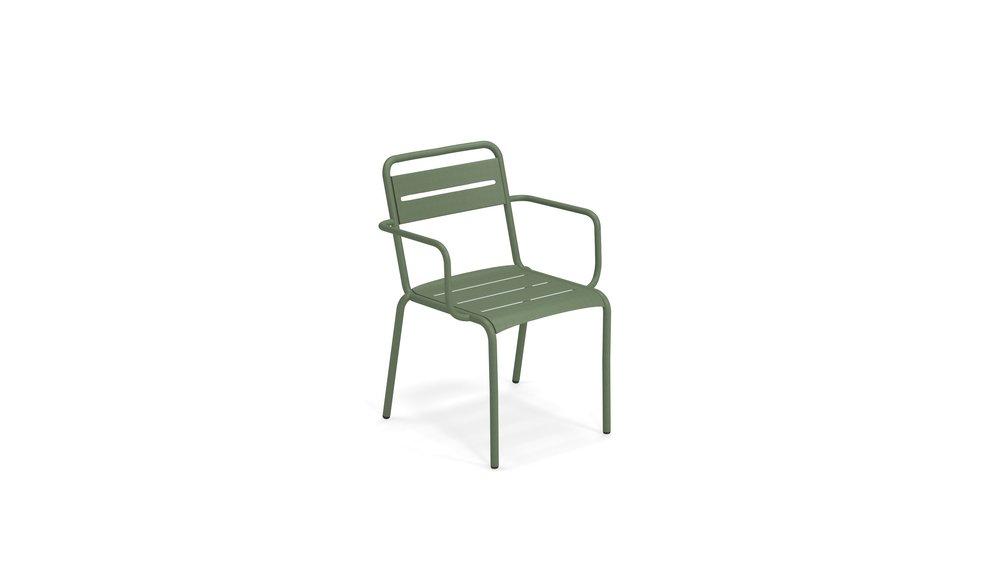 Tuinstoel Star | Leger groen | Met armleuning