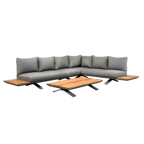 SUNS tuinmeubelen Stockholm loungeset | Light anthracite mixed weave | Opstelling 3