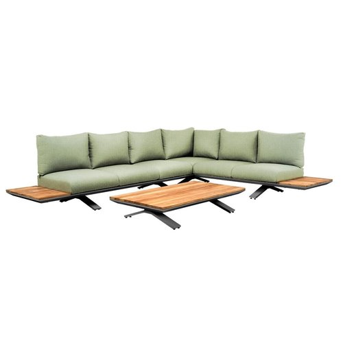 SUNS tuinmeubelen Stockholm loungeset | Soft green mixed weave | Opstelling 3