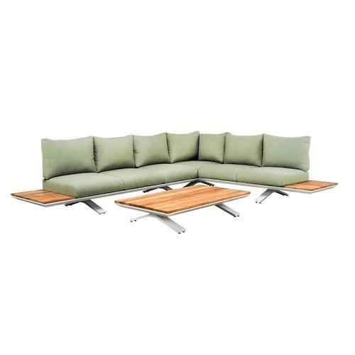 SUNS tuinmeubelen Stockholm loungeset | Mat wit | Soft green mixed weave | Opstelling 3
