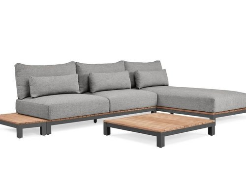 Evora Loungeset | mat royal grey | light anthracite mixed weave | opstelling 2