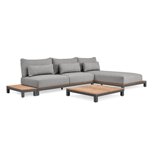SUNS tuinmeubelen Evora Loungeset | mat royal grey | light anthracite mixed weave | opstelling 2