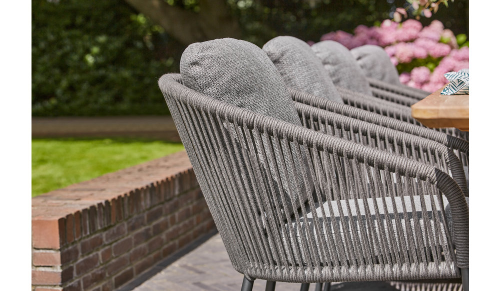 Nappa tuinstoel | Mat Wit | Licht Grijs | Fishbone