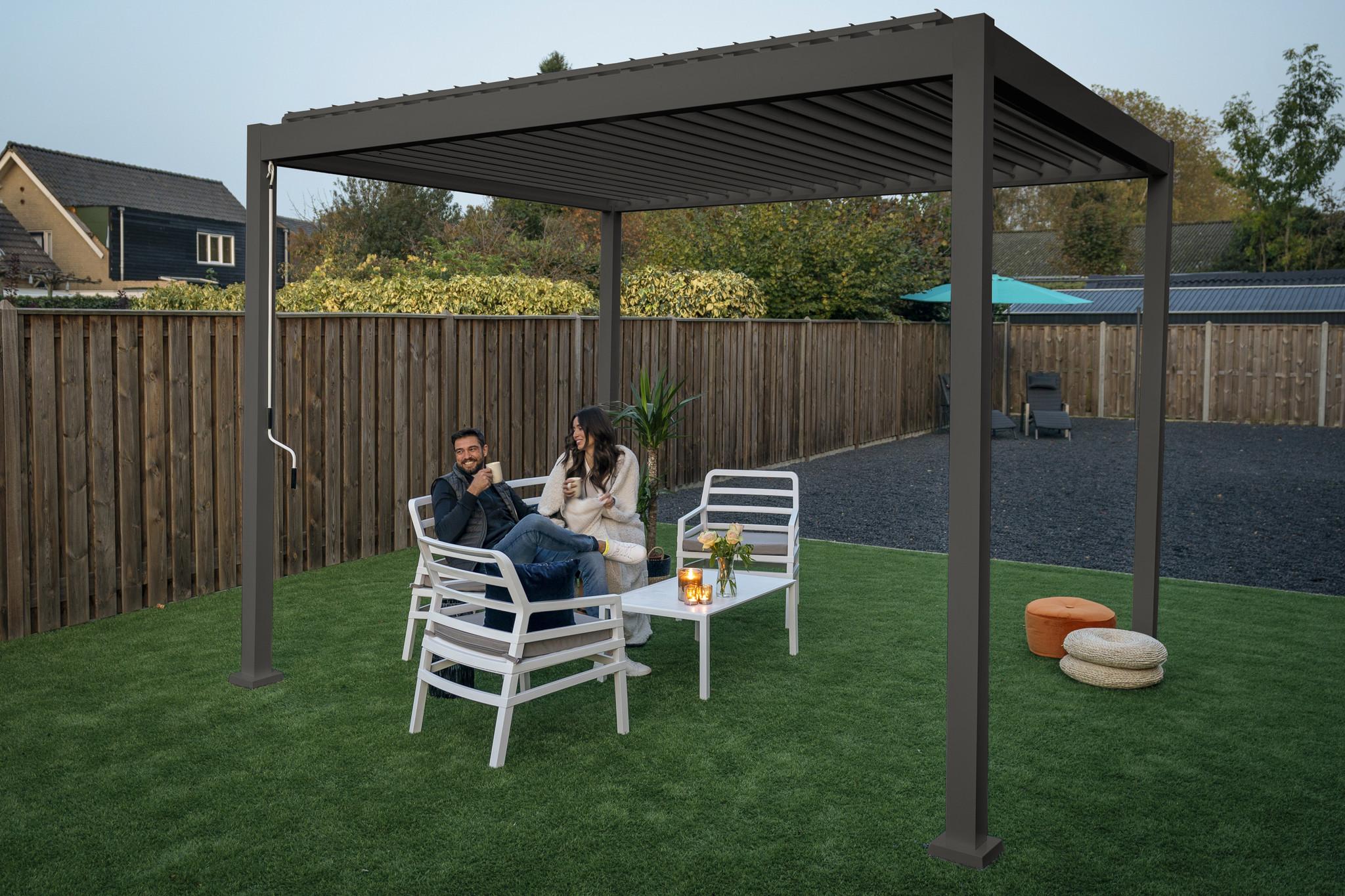 SUNS tuinmeubelen Rota | Terrasoverkapping | Mat Grijs | 300x300x250cm