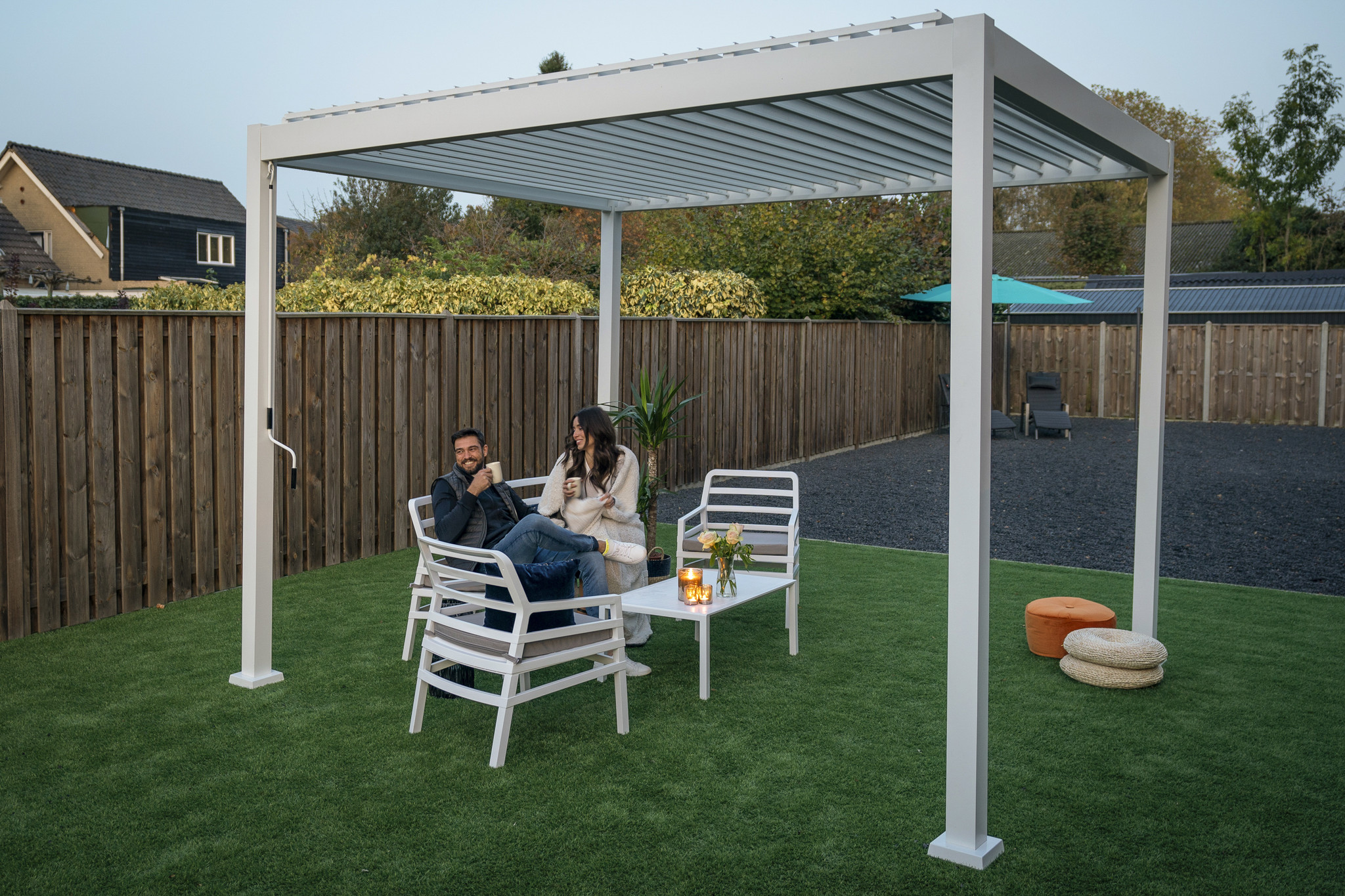 SUNS tuinmeubelen Rota | Terrasoverkapping | Mat Wit | 300x300x250cm