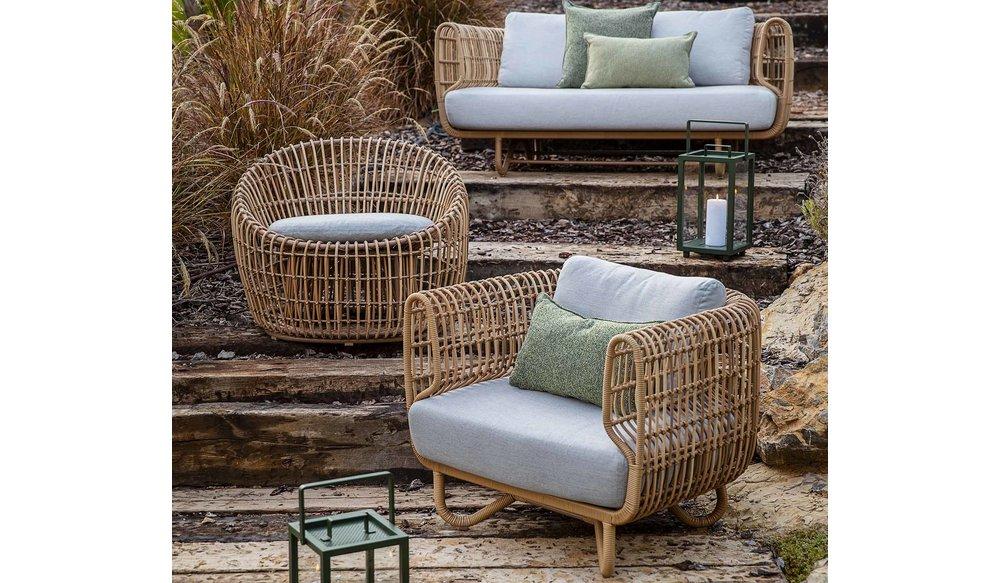 Nest | Loungestoel Rond | Naturel & Wit