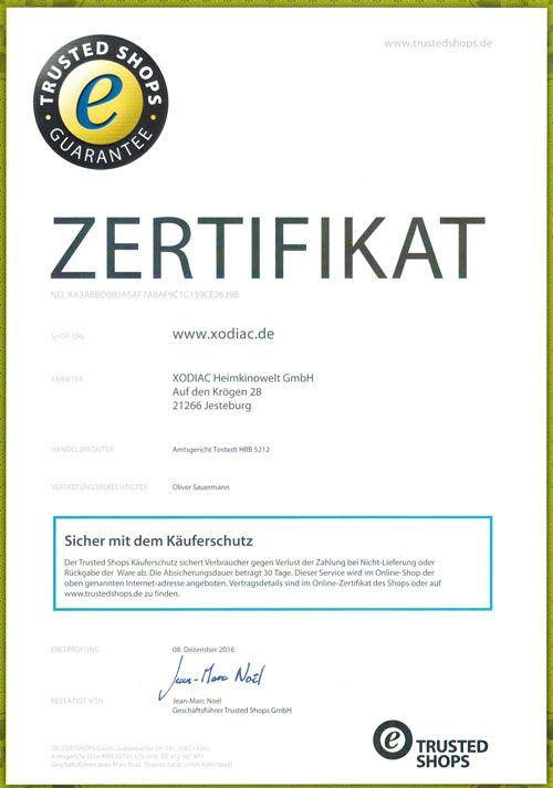 XODIAC Heimkinowelt seit heute Trusted Shops zertifiziert !