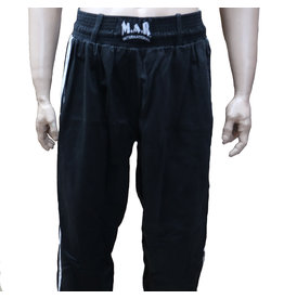 Black Kickboxing Trousers Cotton White Stripes