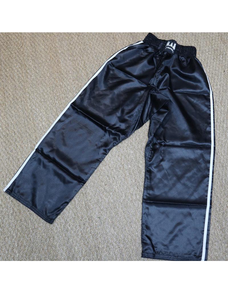 Black Kickboxing Trousers Satin with White Stripes