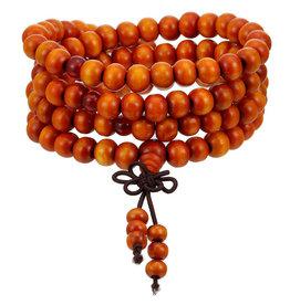 Orange Buddhist Mala Beads Bracelet