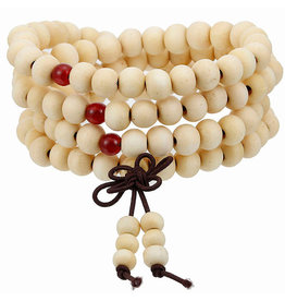Enso Martial Arts Shop White Buddhist Mala Beads Bracelet
