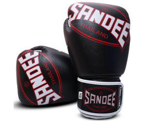 Sandee Cool-Tec Hook and Loop Black Gold /& White Leather Boxing Gloves Muay Tha