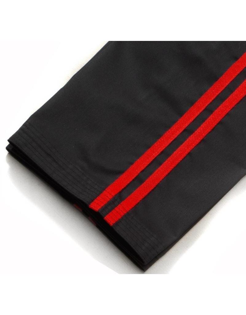 Black Kickboxing Trousers Cotton with Red Stripes