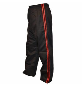 Black Kickboxing Trousers Satin with Red Stripes