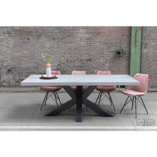 Beton-tafels.com Betonnen tafel met stalen matrix heavypoot