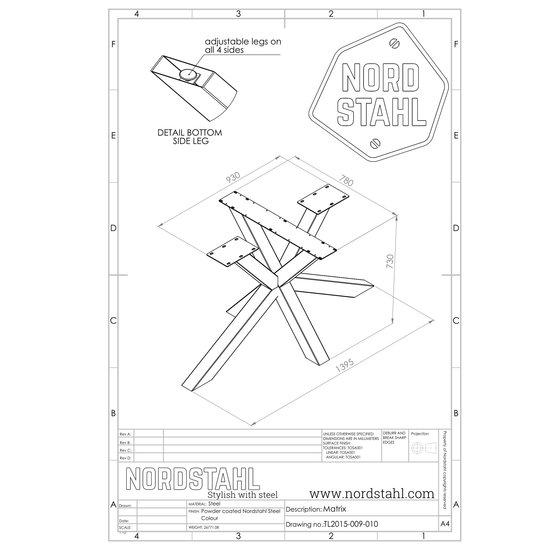 Nordstahl Industrieel tafelonderstel Tafelpoot Matrix leg