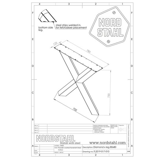 Nordstahl Industrieel tafelonderstel Diamond X leg