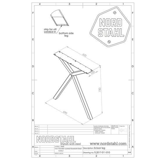 Nordstahl Industrieel tafelonderstel Scissor leg WIT