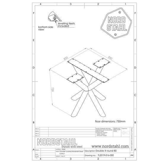 Nordstahl Industrieel tafelonderstel Tafelpoot Double X leg round