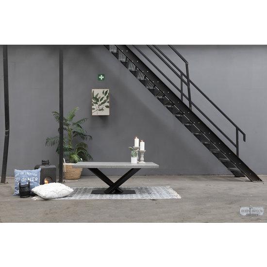 Beton-tafels.com Betonnen salontafel met stalen twisted V poot