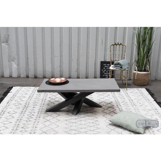 Beton-tafels.com Betonnen salontafel met stalen twist poot