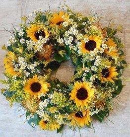 Rouwkrans zonnebloemen