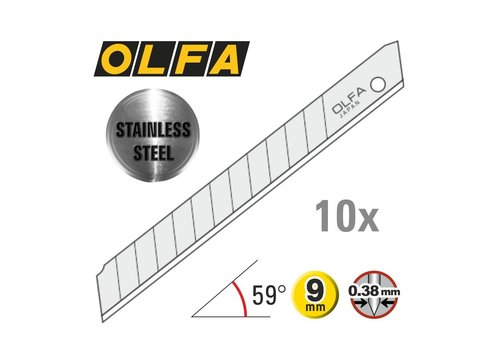 OLFA® 120-AB10S 9mm Edelstahl Abbrechklingen -10er Pack